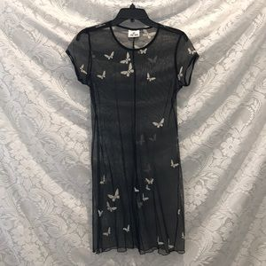 Vintage Grunge Mesh Dress w/ Velvet Butterflies